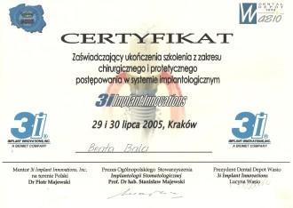 certyfikat chirurgii protetyki