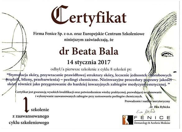 certyfikat stymulacja skóry
