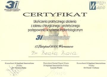certyfikat szkolenia chirurgi protetyki